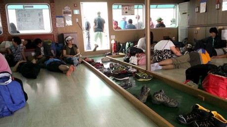 What the inside of a Korean ferry looks like. Where's the furniture?