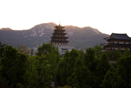 View of Gyeongbok Palace from a coffee shop in Bukchon Hanok Village which is located in Seoul.