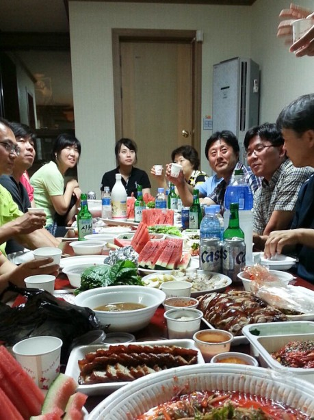 Dinner, round 2, accompanied by many shots of soju and speeches that I didn't understand a word of.
