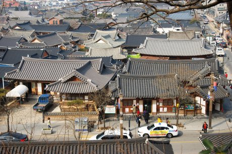 Hanok village rooftops in Jeonju.