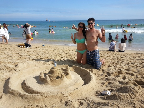 One of the few sunny days we had was spend building a sand castle on Haeundae Beach in Busan.