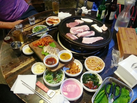 Black pork bbq in Jeju City. It was delicious.