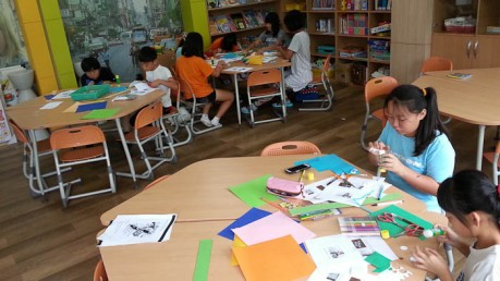 Craft day with 5th and 6th graders during summer camp.
