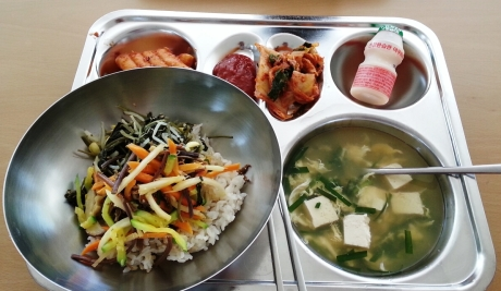 Rice cakes, spicy red pepper paste for the bimbimbap, kimchi, yogurt drink, bibimbap, and tofu, egg and green onion soup.