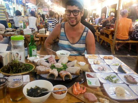 We enjoyed the freshest sashimi on our first night on the beach. It was amazing. So was the price.  But hey, how often will we get to enjoy fresh seafood on a beach in Korea together?