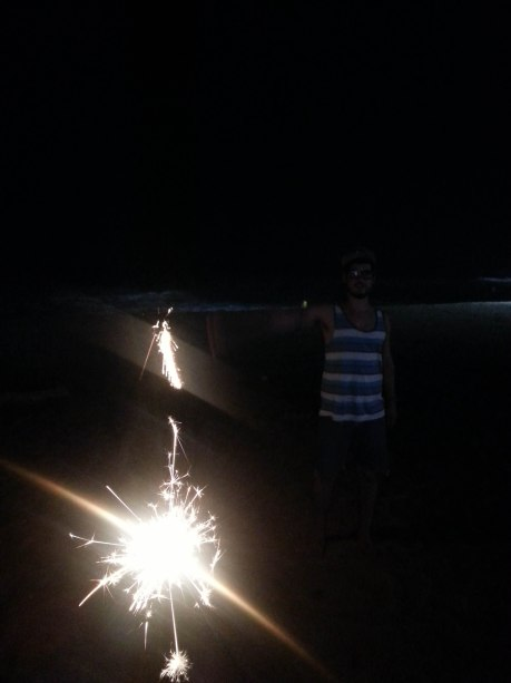 Fireworks and sparklers on the beach. Fireworks are legal and sold everywhere in Korea, especially near beaches.  We could hear them going off all night long.