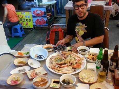 We splurged again on a delicious beach side dinner of crab and a ton of banchan (side dishes).