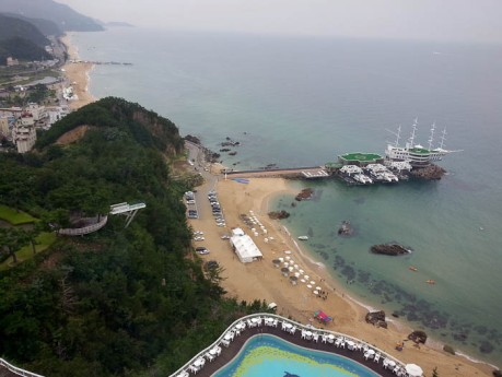 View from the bar on the top floor of Sun Cruise Resort in Jeongdongjin.