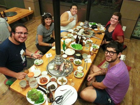 Korean bbq in Eumseong with David and four of the six other English teachers that live in my town.