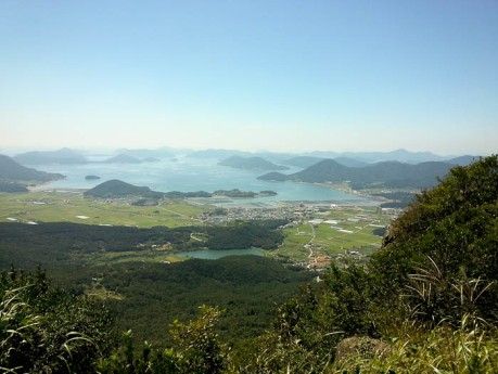 View of rice fields and the many islands surrounding Geoje.