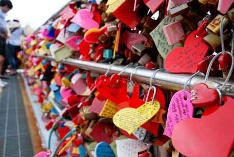 Locks of love at Busan Tower.
