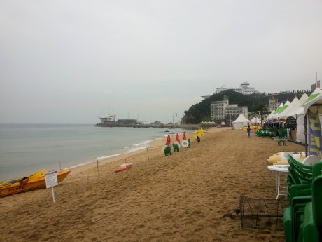 The beach was pretty much deserted due to the rainy weather.
