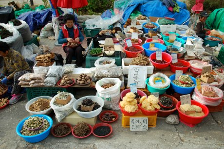 Women selling dried goods outside the entrance to Songnisan National Park.