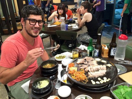 I think David was very happy about this Korean barbecue experience.