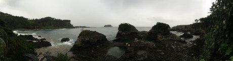 Panorama of the lagoons near Oedolgae Rock in Seogwipo.
