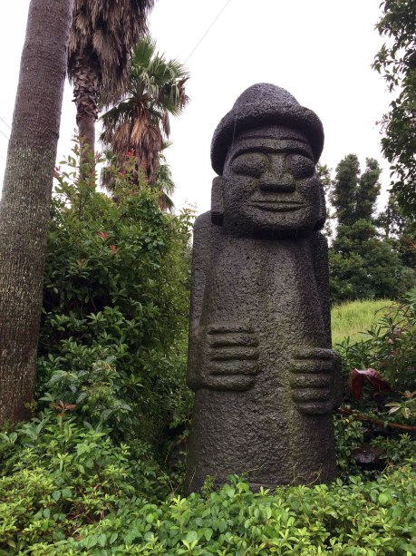 Dol hareubangs (roughly meaning stone grandfather), which are statues carved from volcanic rock, can be spotted all over Jeju. Traditionally, they were carved and placed at village entrances to provide protection.