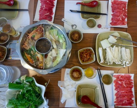 A Chinese version of shabu shabu. We had two different broths at this restaurant, one of which was really spicy.