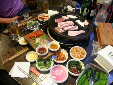 Korean barbecue usually goes hand in hand with soju and beer. Soju is a distilled, vodka-like liquor that is usually made from rice, and a 375ml bottle only costs $1-3.