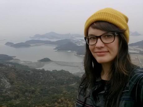 Sneaking in a selfie on a Sinsido Island hike.
