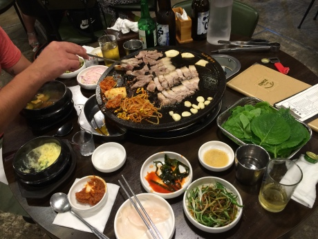 A Korean barbecue experience with samgyeopsal.