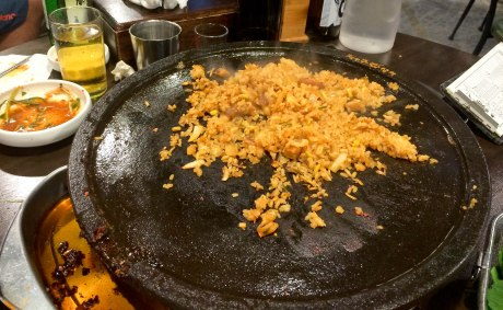 Depending on the type of grill at the restaurant, you can order rice to be fried up with the lefter bits and pieces of meat, kimchi and garlic. It's so good!