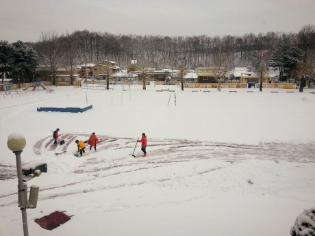 When I got to school, the students were already hard at work shoveling.