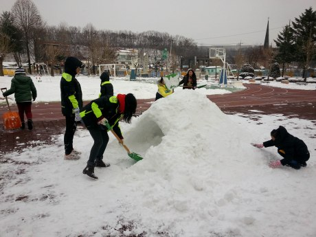 This is when I realized why they were so happy about shoveling. They couldn't wait to build and igloo.