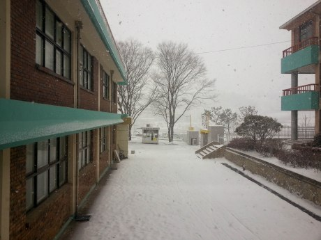 This is the view from my office. I had no idea it was going to snow so often here.