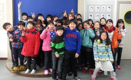 I have much larger classes at my main school. This is one of my 4th grade classes. They all wanted to stand next to me in the picture so I got squished in the middle.