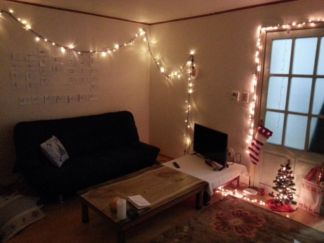 My living room was quite cozy on Christmas. The previous teacher that lived here left a tree behind for me to decorate and get in the Christmas spirit.