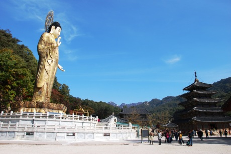 The giant, 108 feet tall gilded bronze Buddha was covered up during the temple stay, I assume for restoration purposes. This picture was taken in the fall.