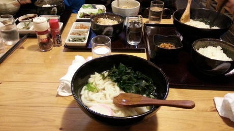 Udon with seaweed.