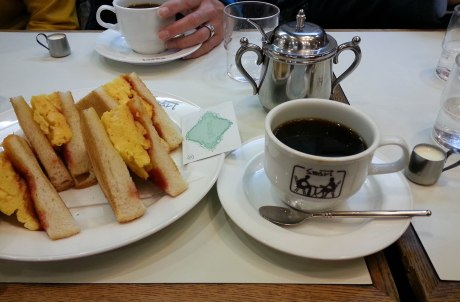 "We found several excellent coffee shops in Kyoto, which was awesome because I'm a bit tired of Korean instant coffee. I also ordered what was described as ""egg toast"" which came slathered in ketchup. The boys ordered french toast that was amazing."