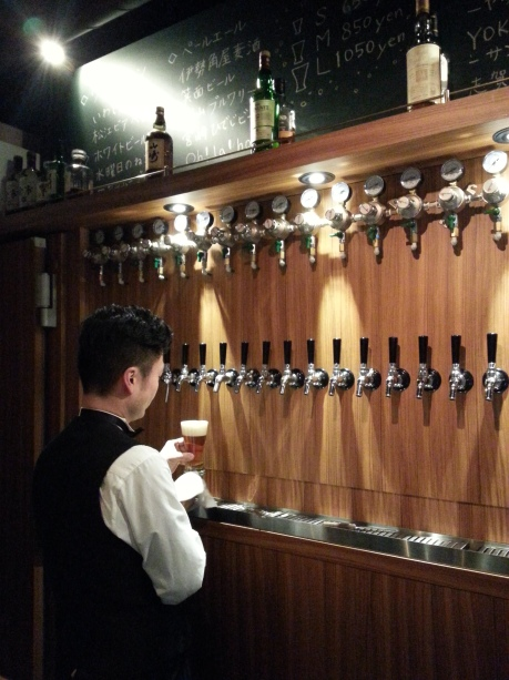 The snazzy craft beer bar in Kyoto. They had 24 different beers on tap, all made in Japan.