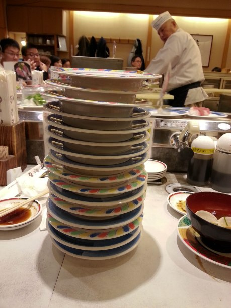 Conveyor belt sushi. Each plate was only $1.30 and it was delicious.