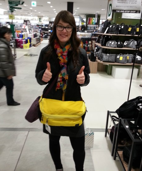 The largest fanny pack ever at a department store in Osaka.