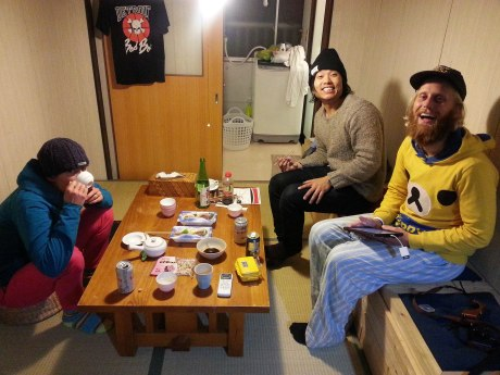 Hanging out in our apartment in Osaka.