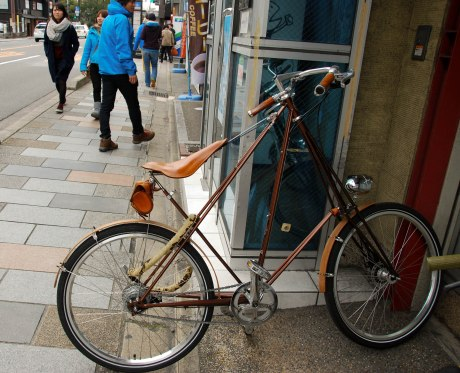 We stumbled upon this cool old bike in Kyoto.