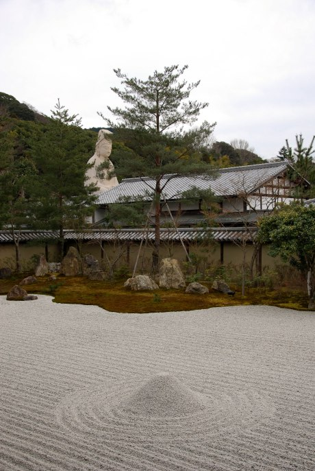 A zen garden with Buddha in the background.